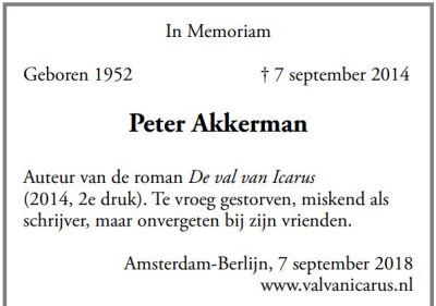 Peter Akkerman advertentie